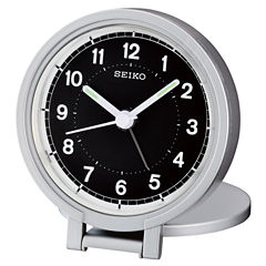 Seiko® Silver Tone Travel Alarm With Folding Stand Clock Qht011alh