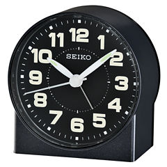 Seiko® Bedside Alarm With Beep Alarm Black ClockQhe084klh