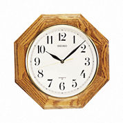 Seiko® Decorative Wall Clock With Solid Oak CaseQxa102bc