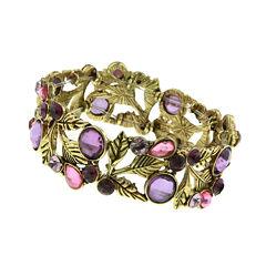 1928® Jewelry Gold-Tone Purple Leaf Stretch Bracelet