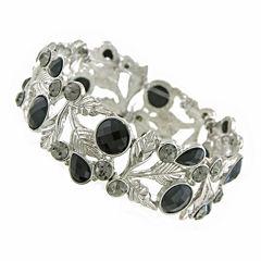1928® Jewelry Silver-Tone Black Leaf Stretch Bracelet