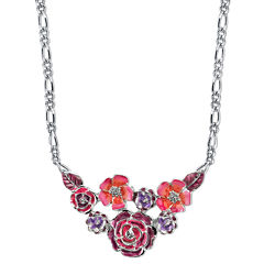 1928® Jewelry Silver-Tone Purple and Pink Enamel Flower Bib Necklace