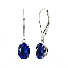 Round Lab-Created Blue Sapphire Sterling Silver Earrings