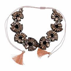 Jardin Womens Pink Crystal Brass Choker Necklace