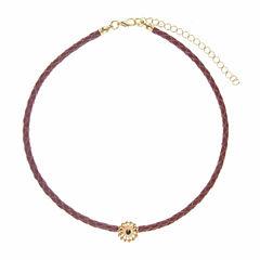 Jardin Womens Black Crystal Brass Choker Necklace