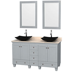 Acclaim 60 inch Double Bathroom Vanity with IvoryMarble Countertop and Arista Black Granite Sinks