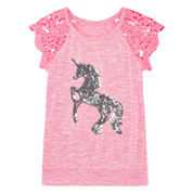 Total Girl® Crochet-Shoulder Tee - Girls 7-16 and Plus