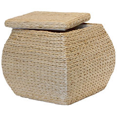 Baum-Essex Square Bulge Havana Weave Rush Storage Ottoman with Lift-off Lid