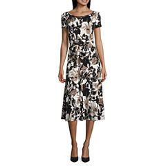 Perceptions Short Sleeve Floral Fit & Flare Dress