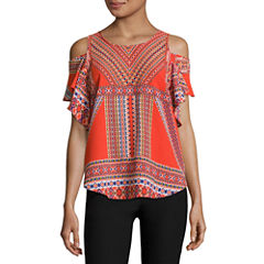 by&by Short Sleeve Round Neck Crepe Blouse-Juniors