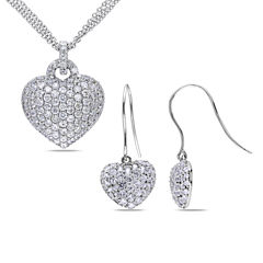 Lab-Created White Sapphire Sterling Silver Earrings & Pendant Necklace 2-Piece Set