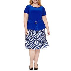 Perceptions Short Sleeve Dress Set-Plus