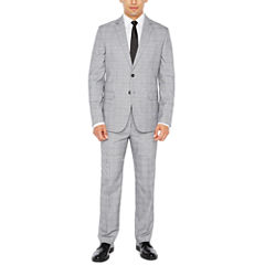 JF J. Ferrar Black White Glen Plaid Suit Separates-Slim