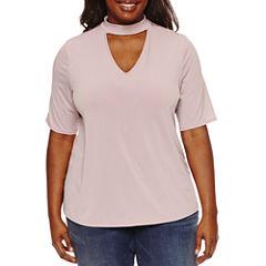 Boutique + Elbow Sleeve Choker Neck T-Shirt-Plus