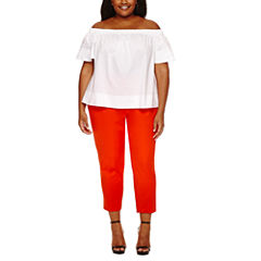 Worthington Short Sleeve Off The Shoulder Shirting or Curvy Slim Ankle Pant-Plus