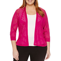 Worthington® 3/4 Sleeve Open Stitch Cardigan - Plus