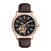 Bulova® Mens Classic Brown Leather Strap Automatic Watch 97A109