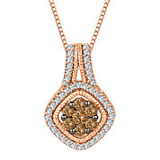 1/2 CT. T.W. White and Champagne Diamond 10K Rose Gold Cluster Pendant Necklace