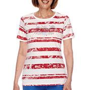 Sag Harbor® American Dream Short-Sleeve Fireworks Embroidery Top