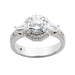 100 Facets by DiamonArt® Cubic Zirconia Sterling Silver Ring