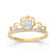 Simulated Heart-Shaped Blue Topaz & Cubic Zirconia 18K Gold Over Silver Ring