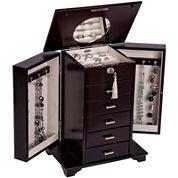 Mele & Co. Monique Java Finish Upright Wooden Jewelry Box
