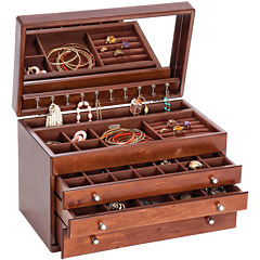 Mele & Co. Brigitte Walnut-Finish Wooden Jewelry Box