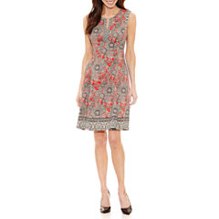 Liz Claiborne Sleeveless Pattern Fit & Flare Dress