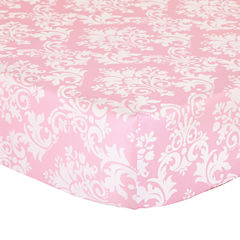 The Peanut Shell Peanut Shell Mix And Match Damask + Scroll Crib Sheet