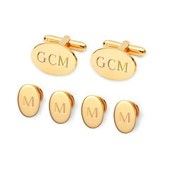 Personalized Formal Set Cuff Links & 4 Shirt Studs