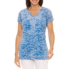 Lark Lane Short Sleeve V Neck T-Shirt-Womens