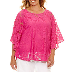 Lark Lane Viva Antigua Short Sleeve Scoop Neck Lace Blouse-Plus