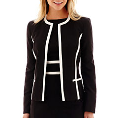 Black Label by Evan-Picone Contrast-Trim Jacket
