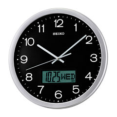 Seiko® Analog / Digital Wall Clock With Day DateAnd Month Calendar Qxl007alh