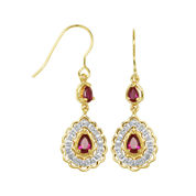 Classic Treasures™ Diamond-Accent & Lab-Created Ruby Brass Drop Earrings