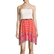 City Triangles® Strapless Lace-Bust Chiffon Belted Dress- Juniors