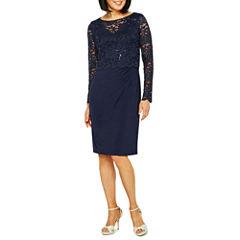 Onyx Nites Long Sleeve Floral Sheath Dress