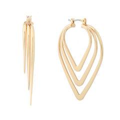 Liz Claiborne® Gold-Tone Triple Pointed Hoop Earrings