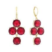 Monet® Red Glass Gold-Tone Chandelier Earrings