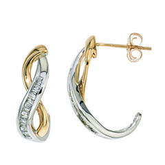 1/4 CT. T.W. Diamond Earring In 10K White And Yellow Gold