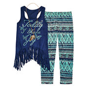 Knit Works® 3-pc. Faux-Suede Fringe Tank and Leggings Set - Girls 7-16 and Plus