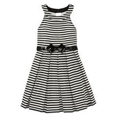 Knit Works Belted Stripe U-Neck Dress - Girls' 7-16