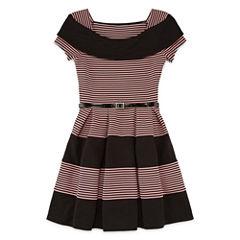 Knit Works Short Sleeve Skater Dress - Big Kid Girls