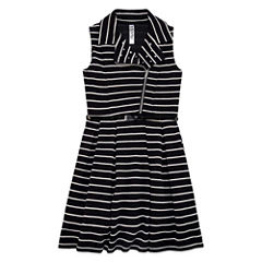Knit Works Belted Stripe Moto Jacket Dress - Girls' 7-16