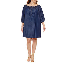 Boutique + 3/4 Sleeve Off the Shoulder A-Line Dress-Plus