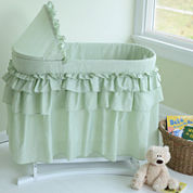 Lamont Home Good Night Baby Bassinet - Sage Gingham Full Skirt