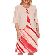 Maya Brooke 3/4-Sleeve Structured Jacket Dress - Plus