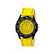 Crayo Womens Fun Yellow Leather-Band Watch Cracr2505