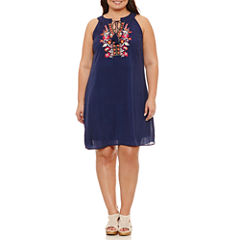 Luxology Sleeveless Embroidered Sheath Dress-Plus