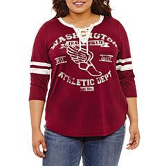 Arizona 3/4 Sleeve Lace Up Graphic T-Shirt- Juniors Plus
